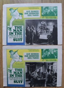 Man in the White Suit, 2 cards, Ealing Studios, Alec Guinness.
